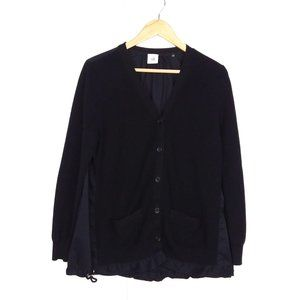 Cabi Black Button Up Drawstring Hem Cardigan